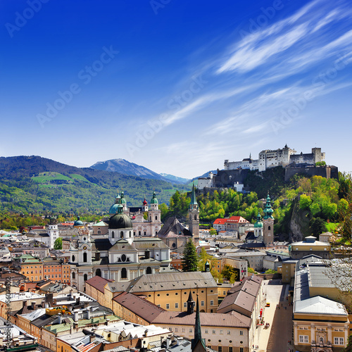 beautiful Salzburg, view ofold town with castle