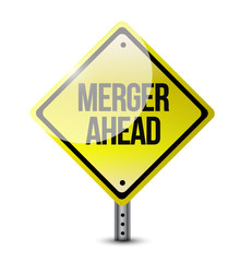 merger ahead road sign illustration design