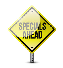 specials ahead road sign illustration