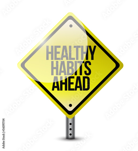 healthy habits road sign illustration design
