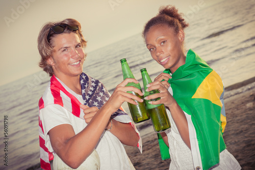 American Boy with Brazilian Girl at Beach