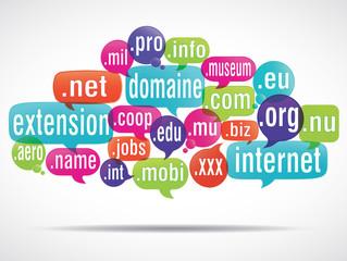 nuage de mots : extensions de domaine
