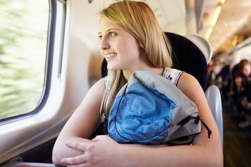 Teenage Girl Relaxing On Train Journey