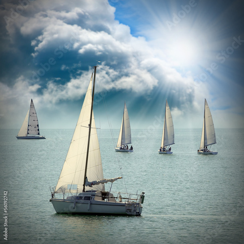 The Sailboats on a sea against a dramatic sky. - 56092742