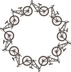Vector illustration with bikes in a circle