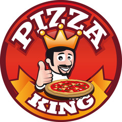 Logo Button Pizza King mit Pizzabäcker