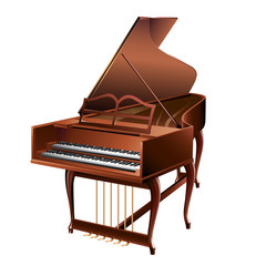 Classical clavecin, isolated on white background