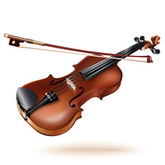 Classical violin, isolated on white background