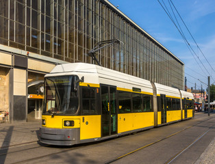 Modern tram in Berlin - Alexanderplatz