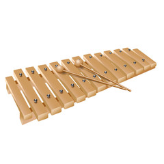 Classical wooden xylophone, isolated on white background