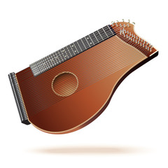 Traditional zither, isolated on white background