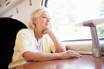 Senior Woman Relaxing On Train Journey