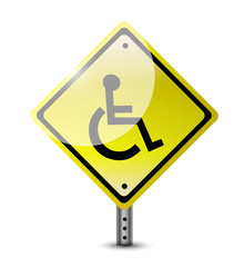 handicap road sign illustration design