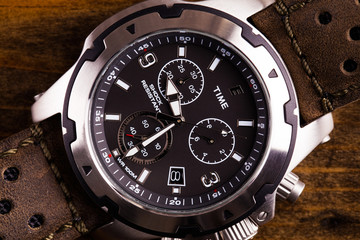 Gents analogue watch close up