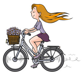Romantic Girl on bicycle.