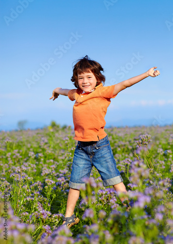 Young boy jumping in the field