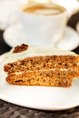 carrot cake with coffee