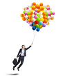 Businesswoman holding colorful balloons - isolated