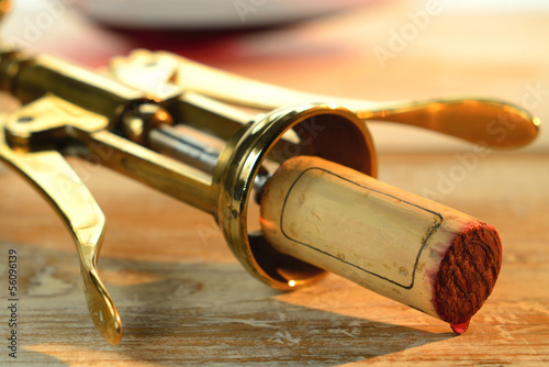 Corkscrew and wine cork.