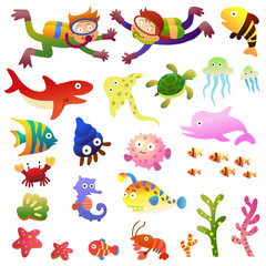 Sea fishes and animals collection.