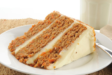 Gourmet carrot cake with a glass of milk