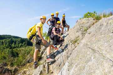 Group Of Climbers On Rock