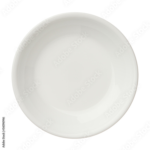 Empty clean plate isolated on white background, top view