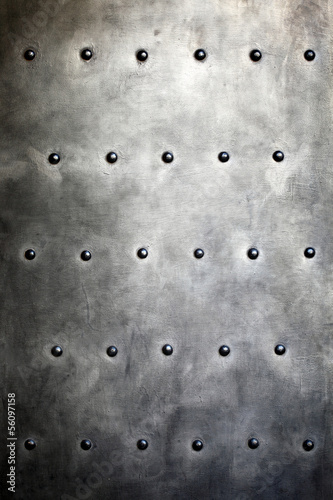 Fotobehang Metal Black metal plate or armour texture with rivets
