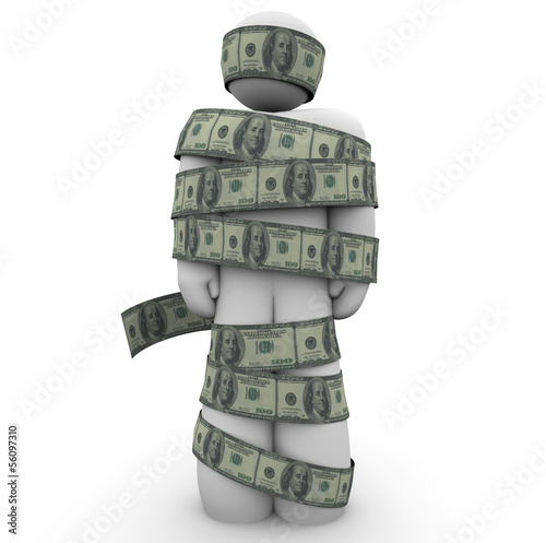 Person Wrapped in 100 Dollar Bills Money Cash