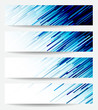 four headers with blue abstract lines