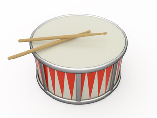 Isolated drum and two drumstick