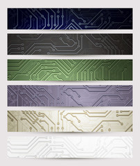 set of six Headers of the digital technologies