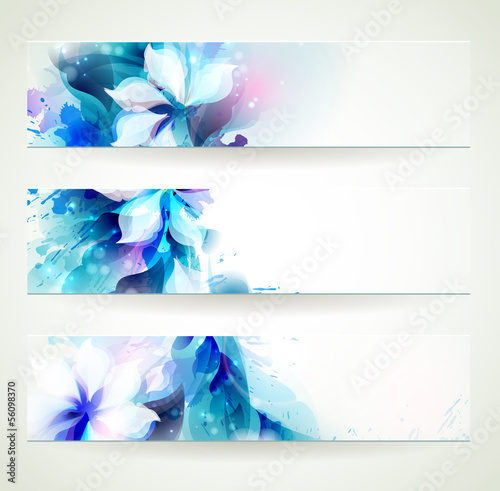set of three floral headers