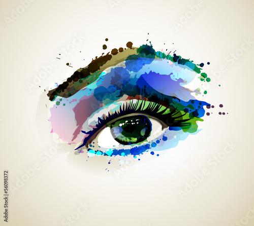 piekny-mody-kobiety-oko-tworzy-plamami
