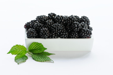 Blackberry in a white dish against a white background