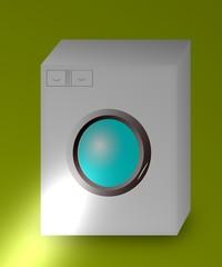 lavatrice su sfondo verde