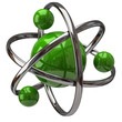 3d green atom isolated on white backgound