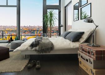 Modern bedroom interior with huge windows and vintage furniture
