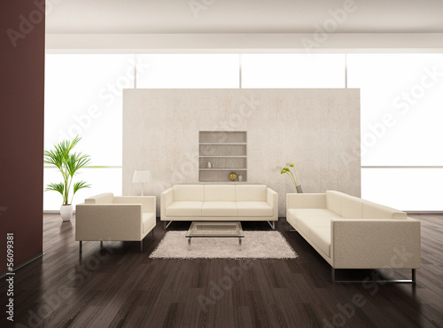 Modern puristic light living room with white furniture