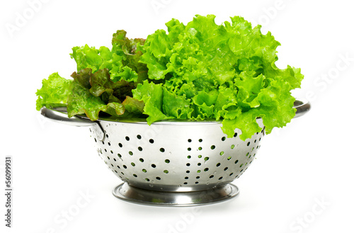 fresh lettuce in metallic colander