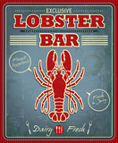 Vintage lobster bar poster design