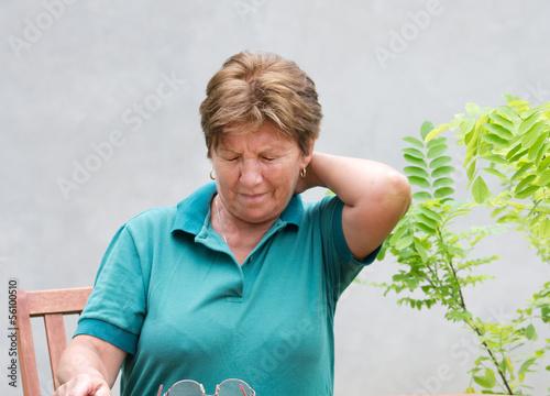 Older woman has neck pain