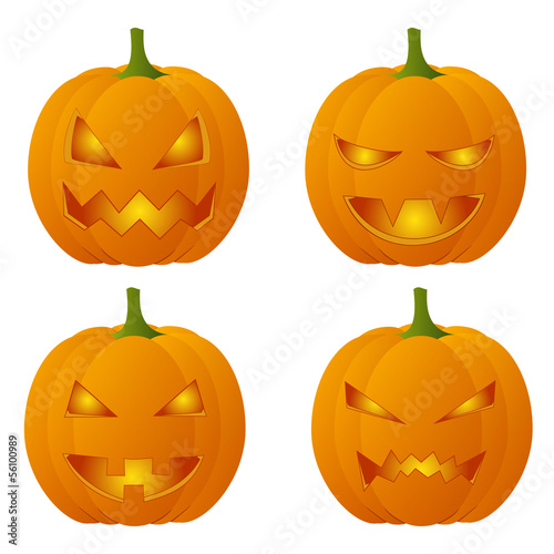 Set of four creepy Halloween pumpkins