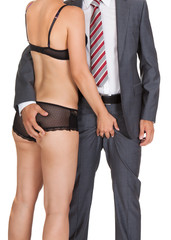Businessman with woman in lingerie