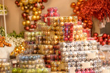 Pile of shiny Christmas balls in boxes