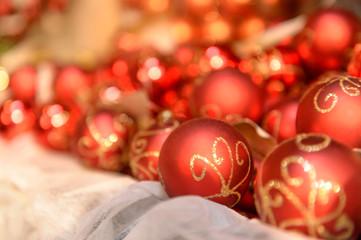 Pile of red Christmas balls