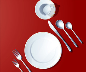 Silverware on red. Vector.
