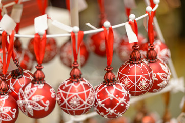 Hanging Christmas ornaments balls at shop