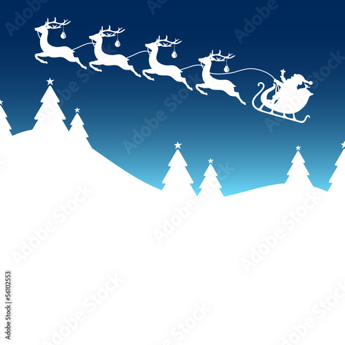 Christmas Card Sleigh Silent Night Blue