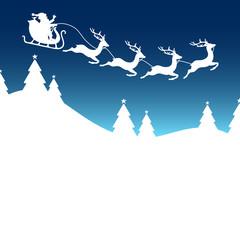 Christmas Card Sleigh 4 Reindeers Blue